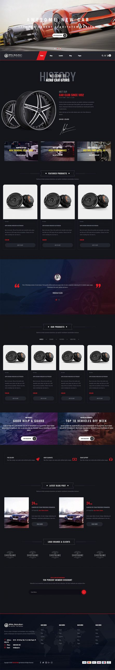 Giao diện website ô tô My Shop