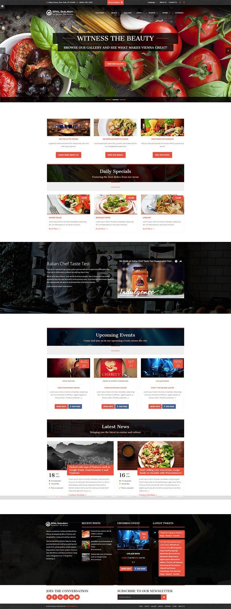 Giao diện website ẩm thực Vienna