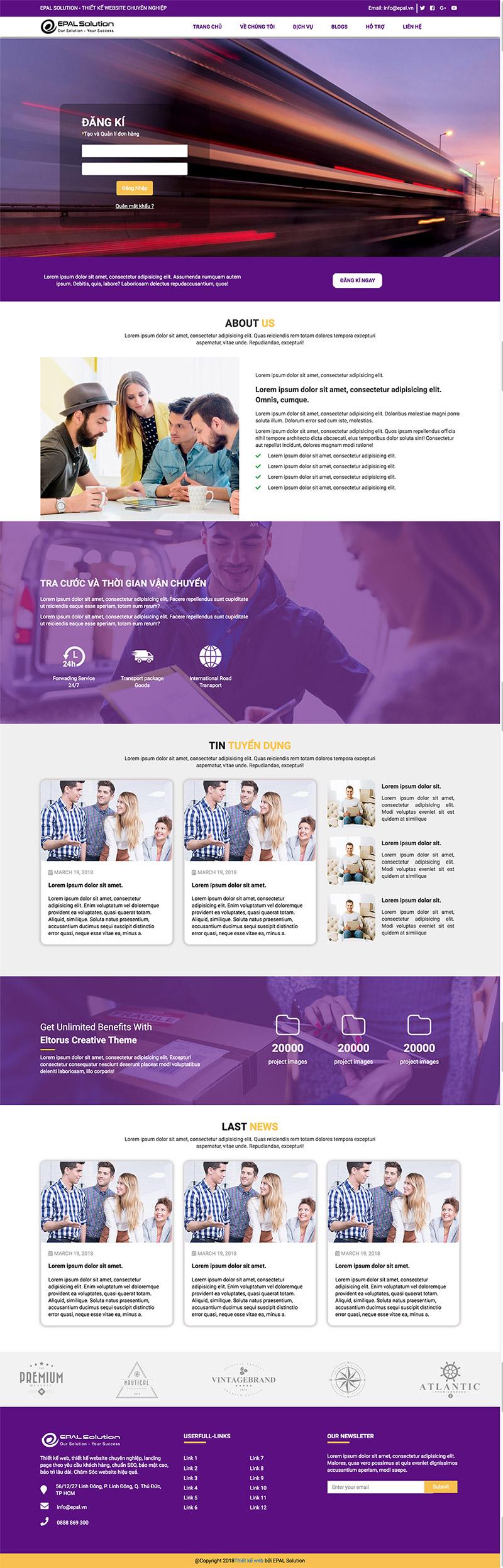 Giao diện website doanh nghiệp Chuyển Phát Nhanh