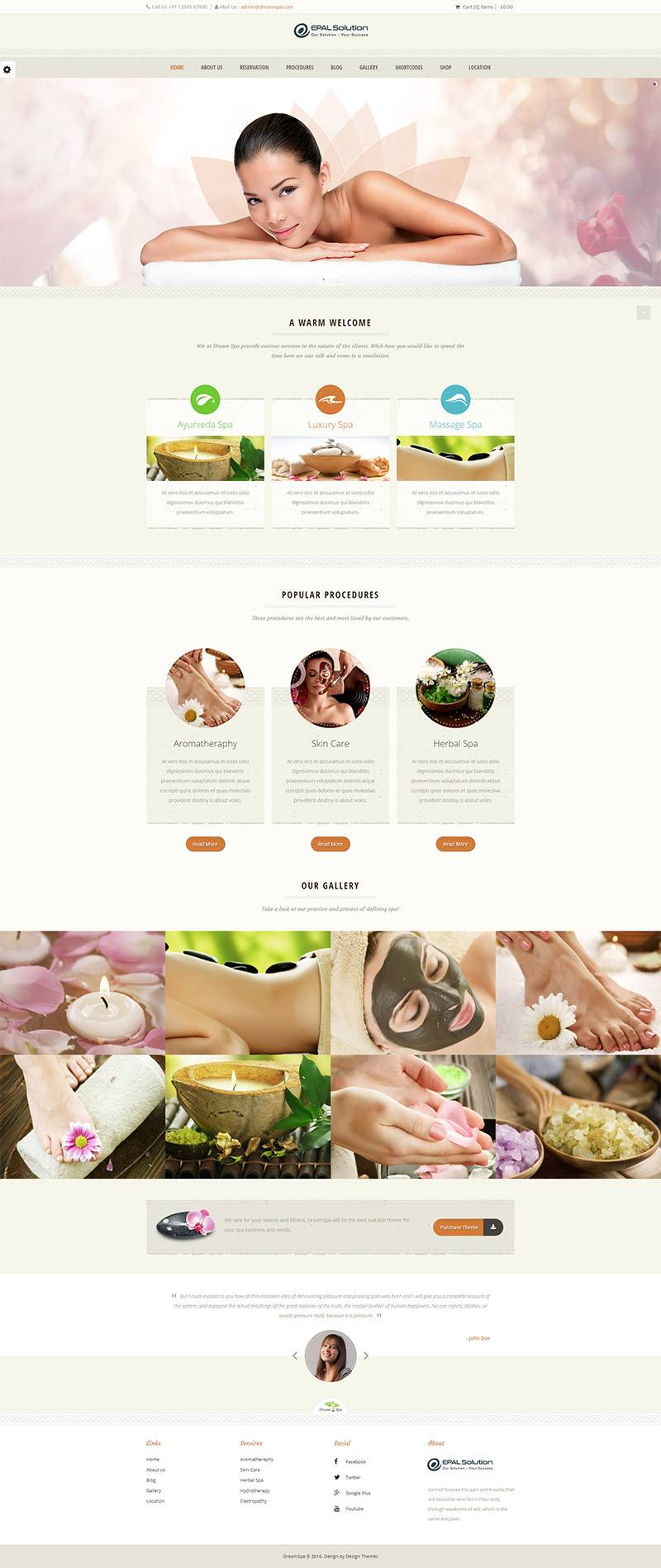 Giao diện website Dream SPA