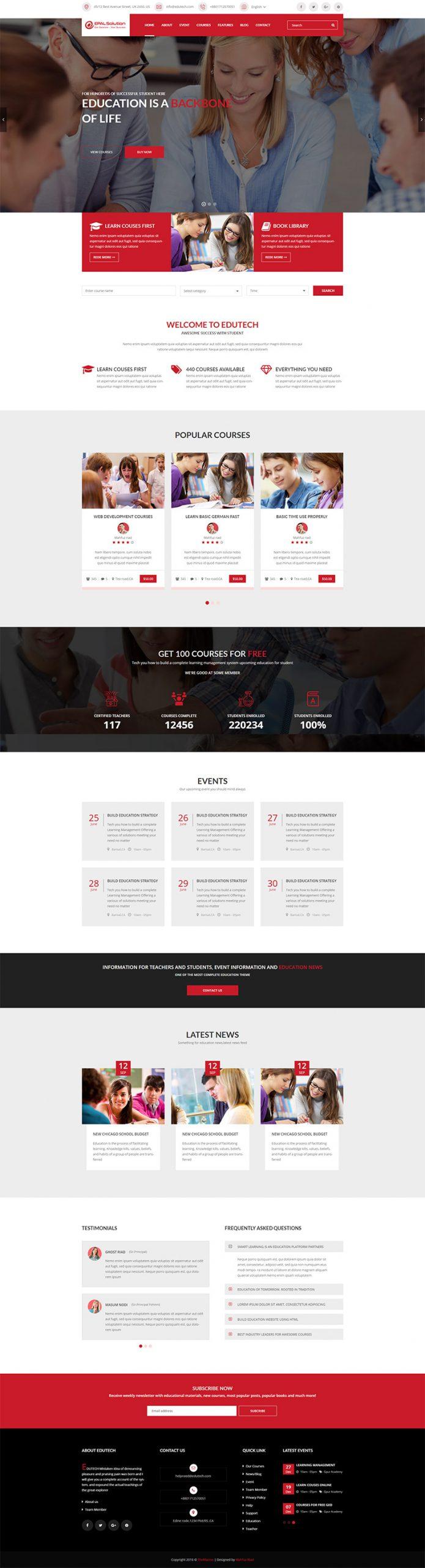 Giao Diện Website Giáo Dục Edutech