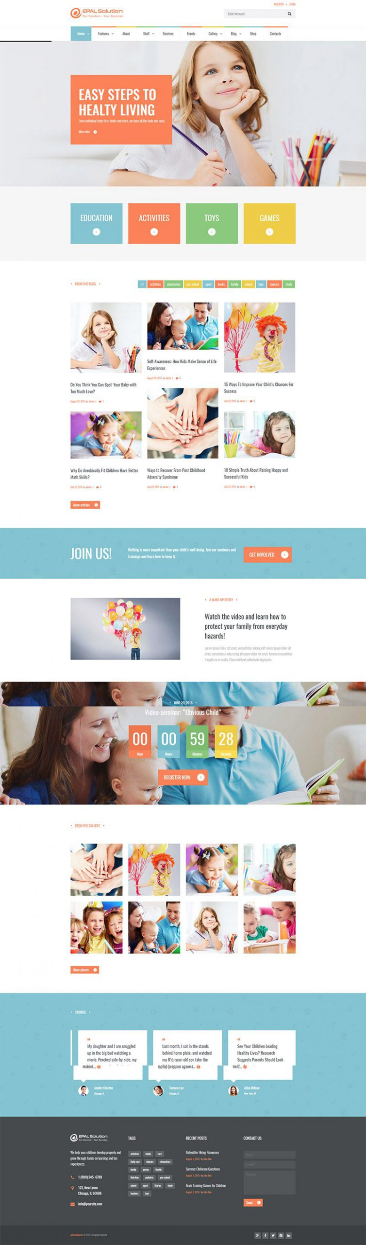 Giao diện website giáo dục Kids Planet
