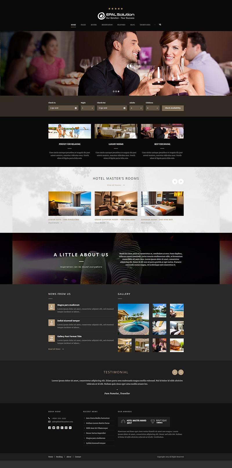 Giao diện website khách sạn Hotel Master
