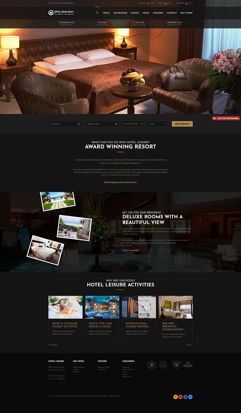 Giao diện website khách sạn Leisure