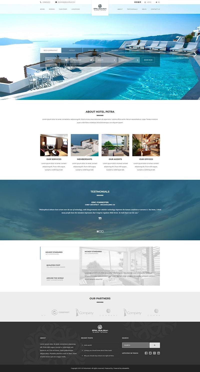 Giao diện website khách sạn Petra