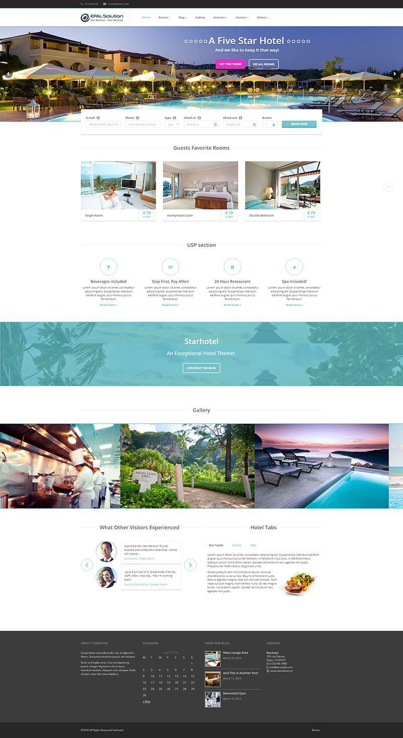 Giao diện website khách sạn Starhotel