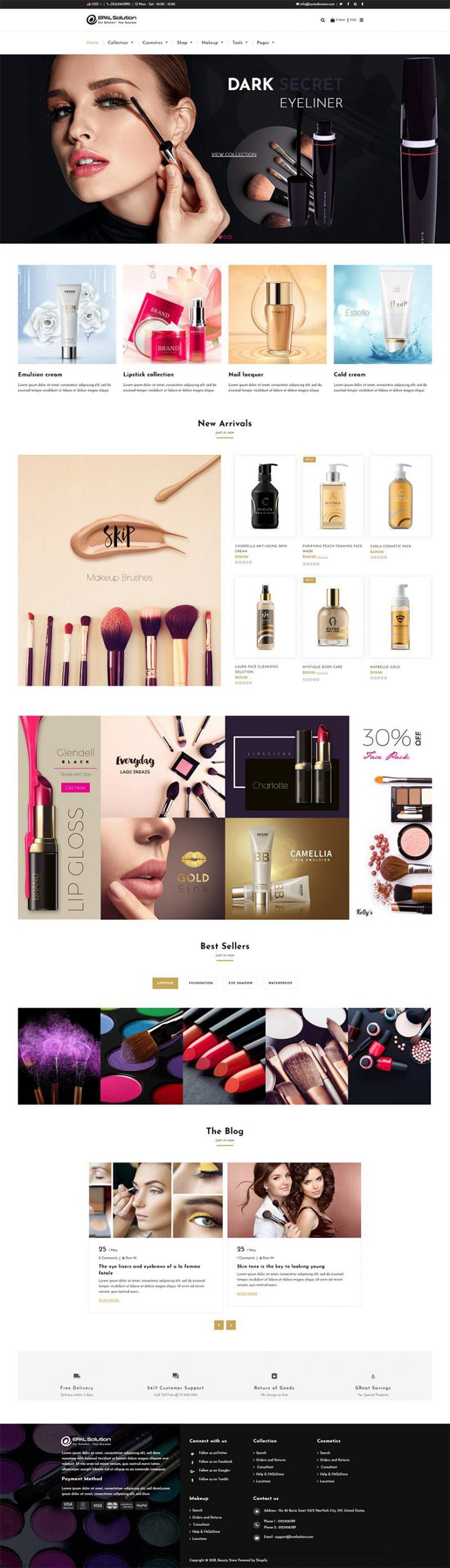 Giao diện website mỹ phẩm Beauty Store