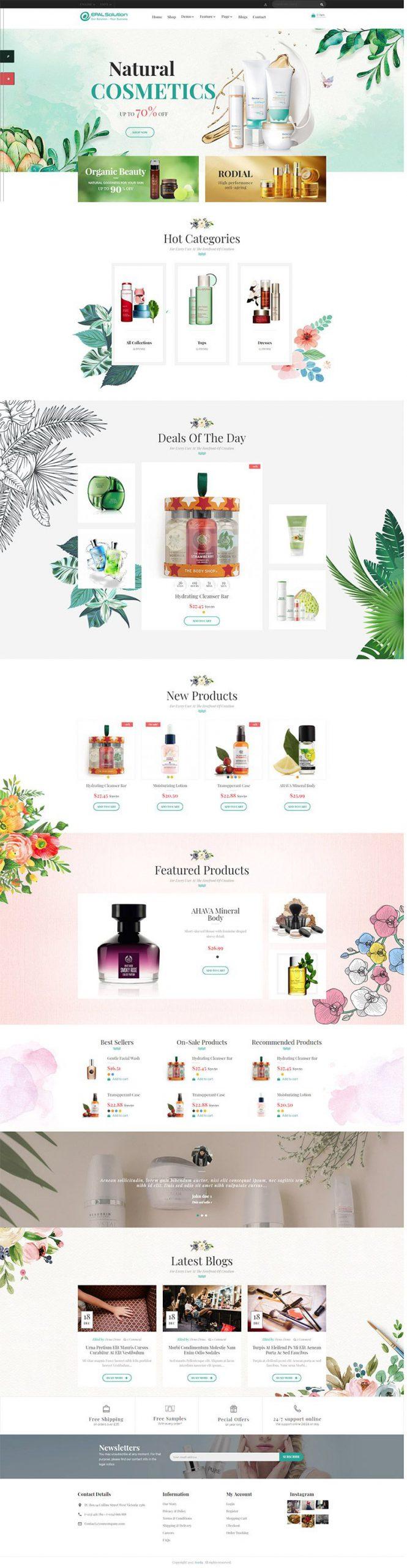 Giao diện website mỹ phẩm Havina