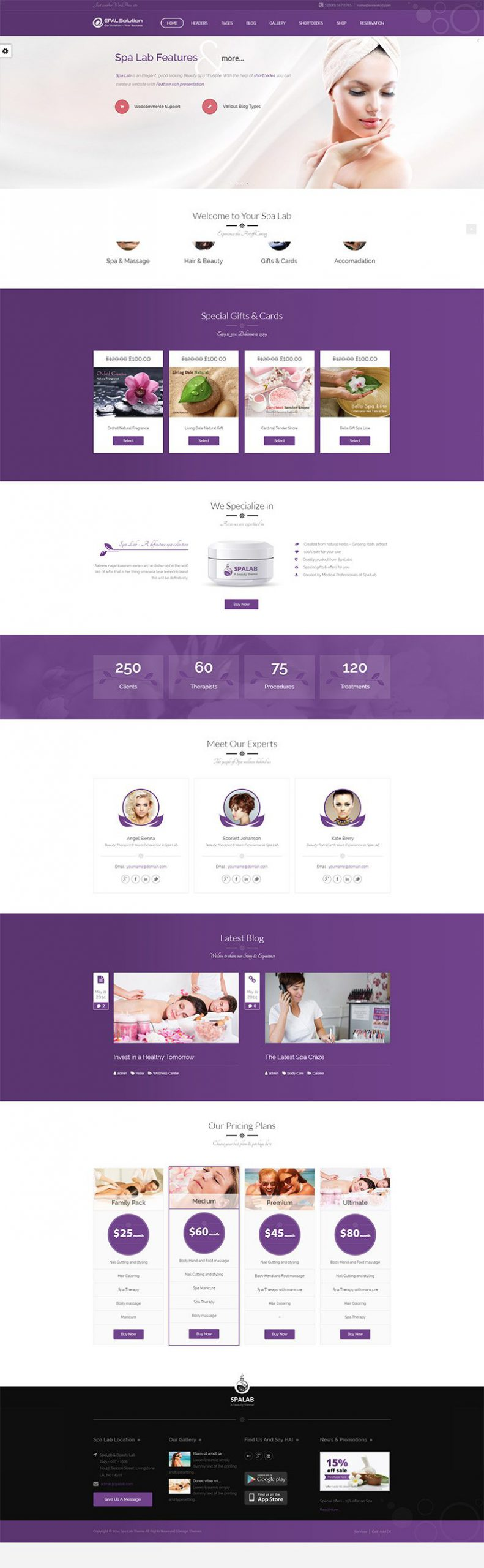 Giao diện website Spa Lab