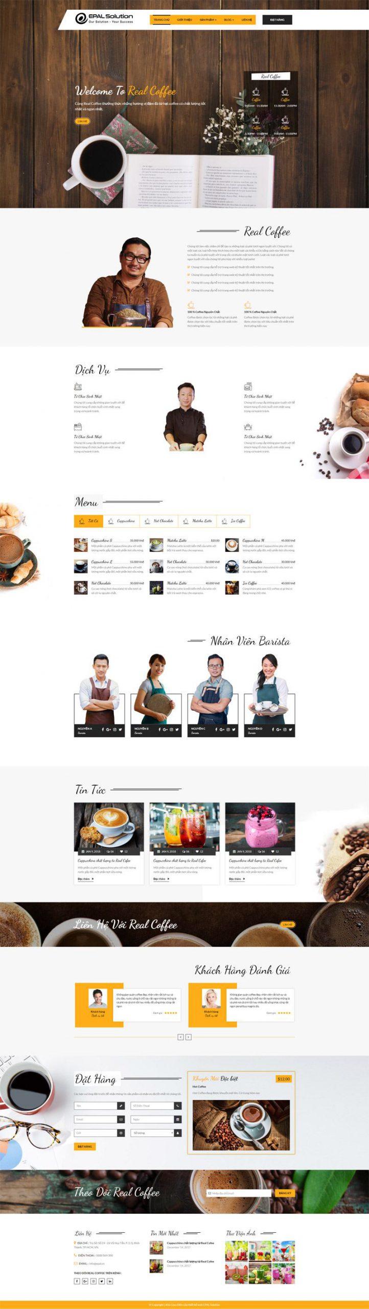 Giao diện website coffee Mẫu 1