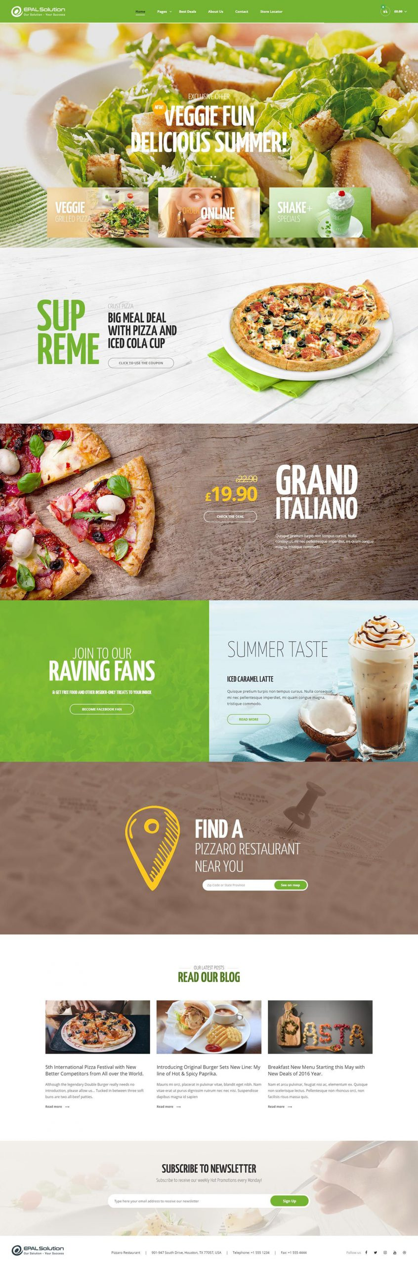 Giao diện website ẩm thực Pizzaro
