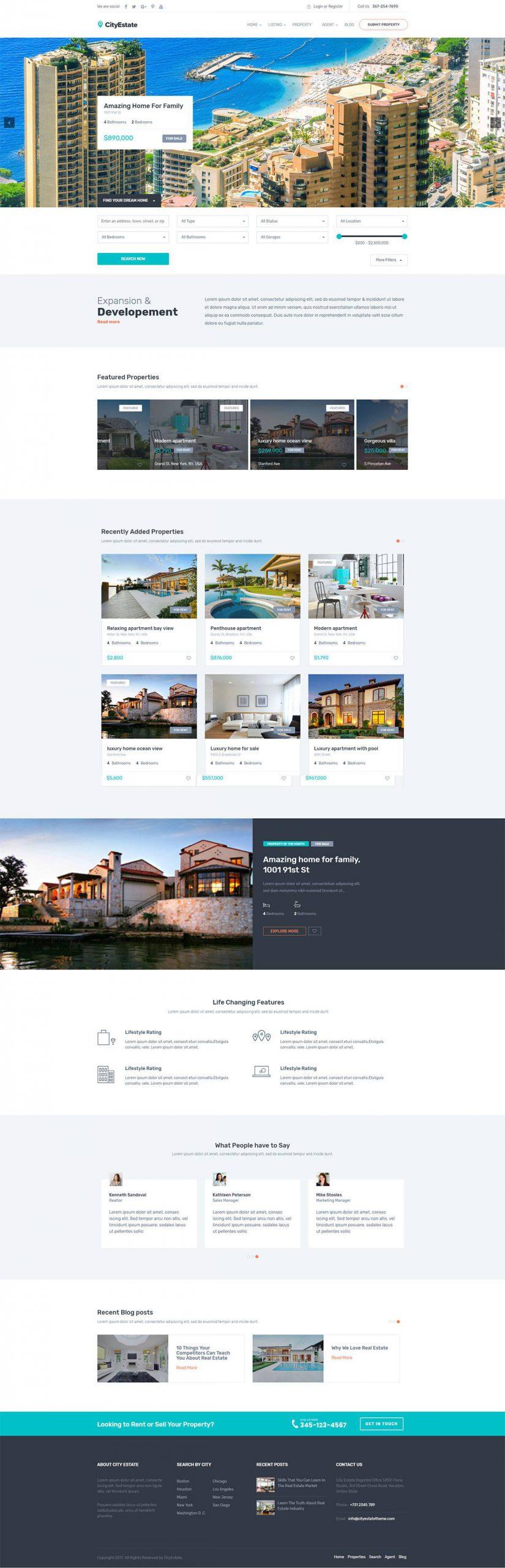 Mẫu giao diện website bất động sản City Estate