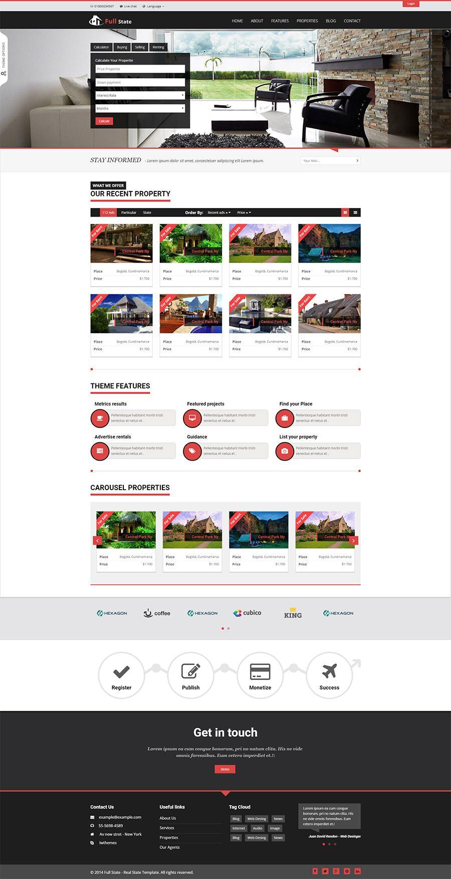Giao diện website bất động sản Full State