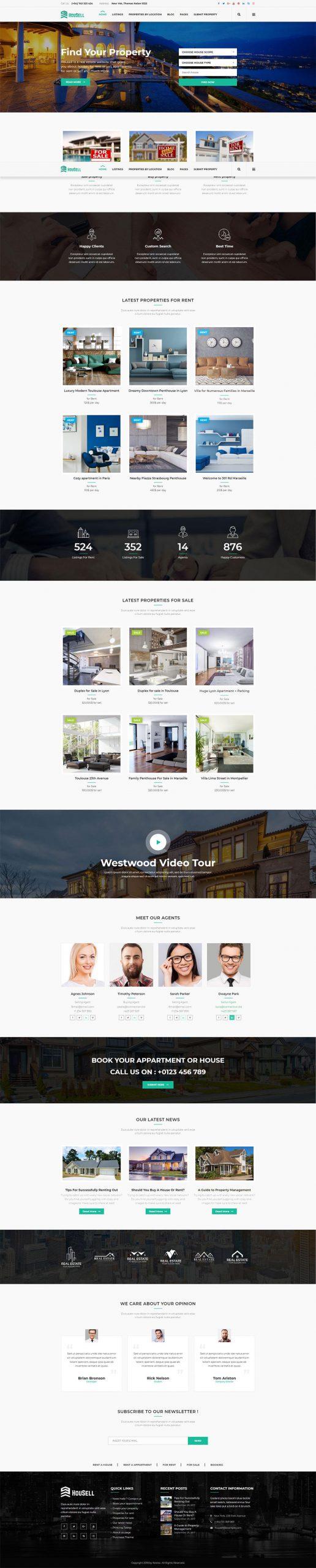 Mẫu giao diện website bất động sản Housell