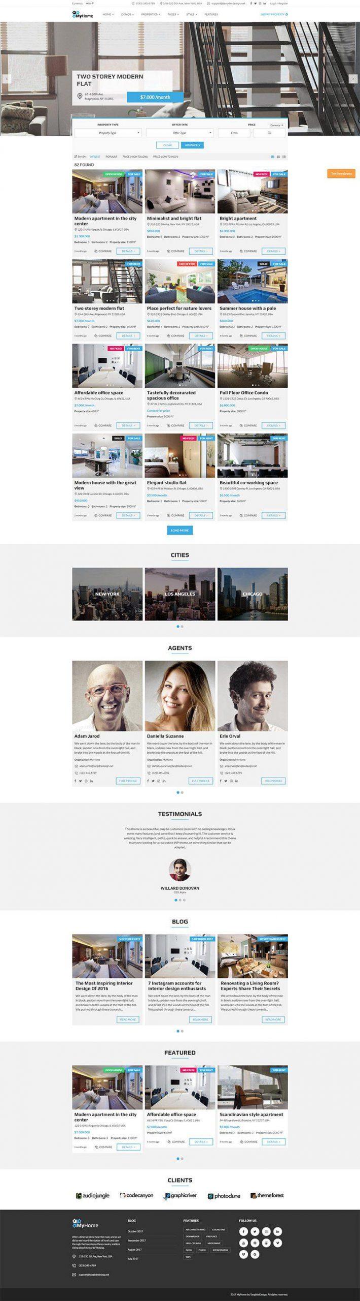 Giao diện website bất động sản MyHome