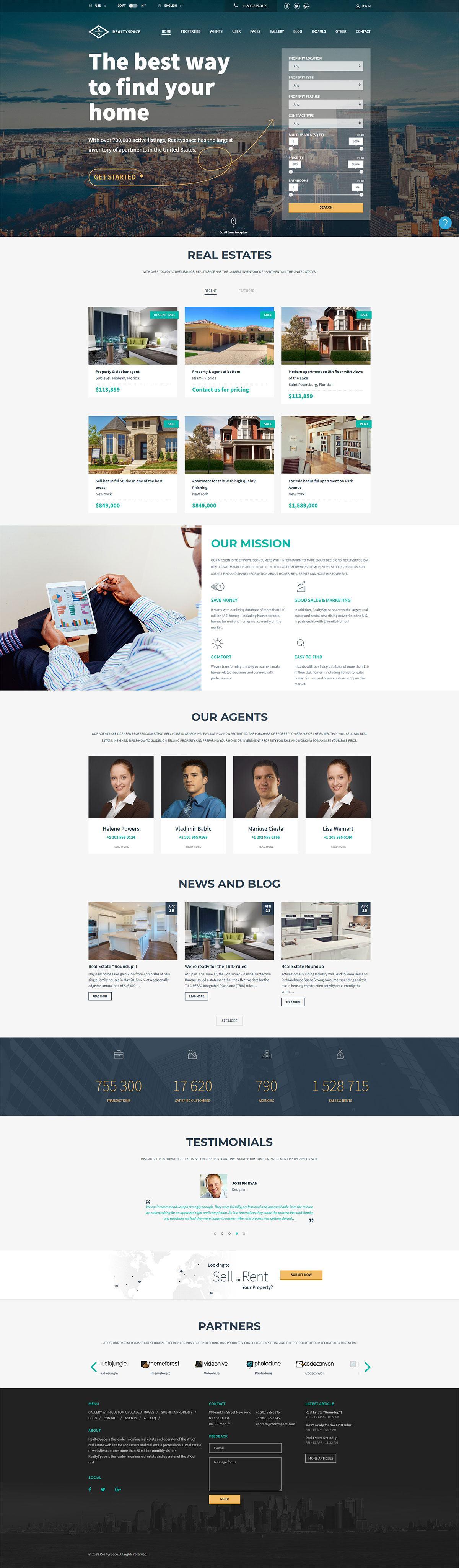Giao diện website bất động sản Realtyspace