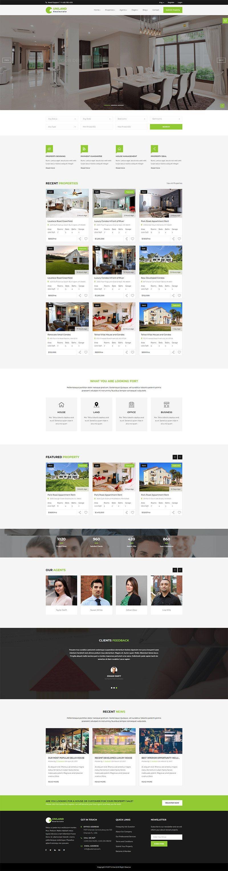 Giao diện website bất động sản Uniland