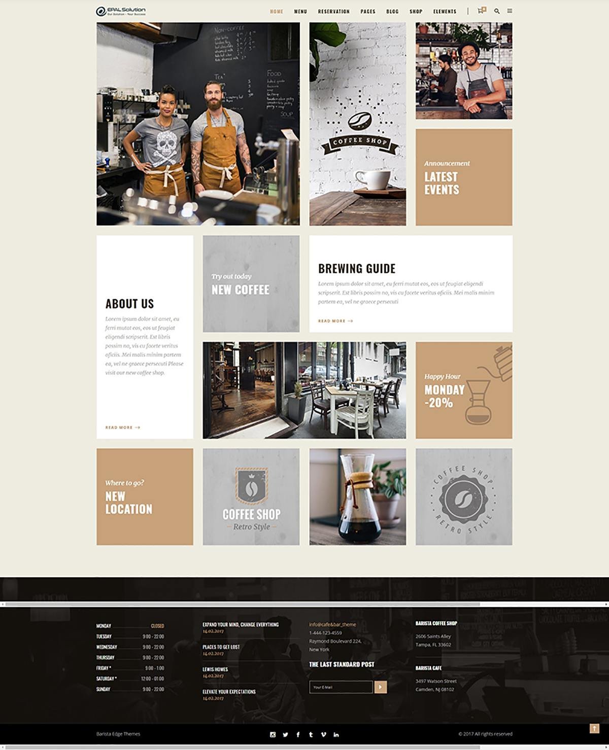 Giao diện website coffee Barista