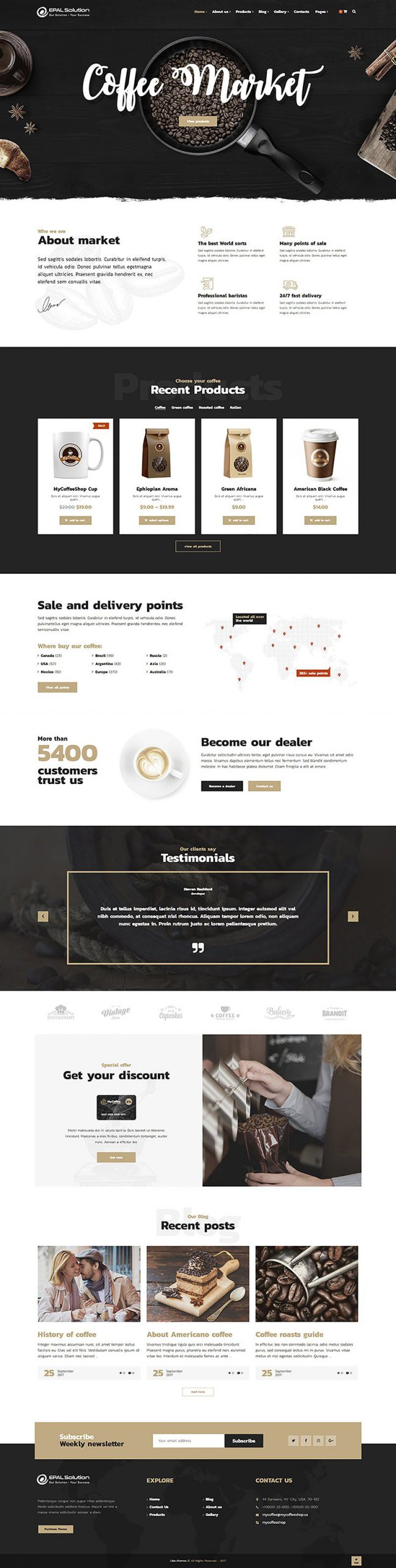 Giao diện website Coffee Market