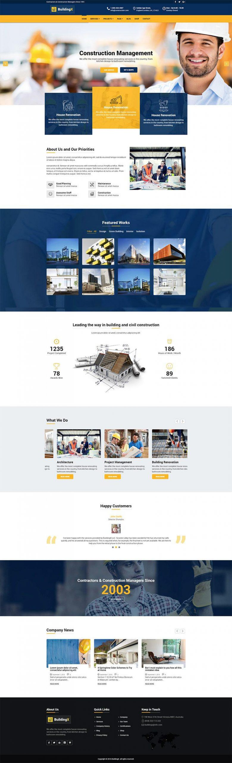 Giao diện website doanh nghiệp BuildingX