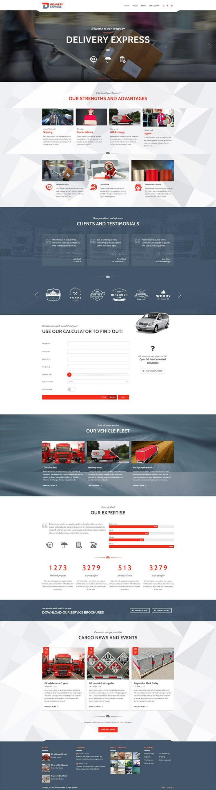Giao diện website doanh nghiệp Cargo