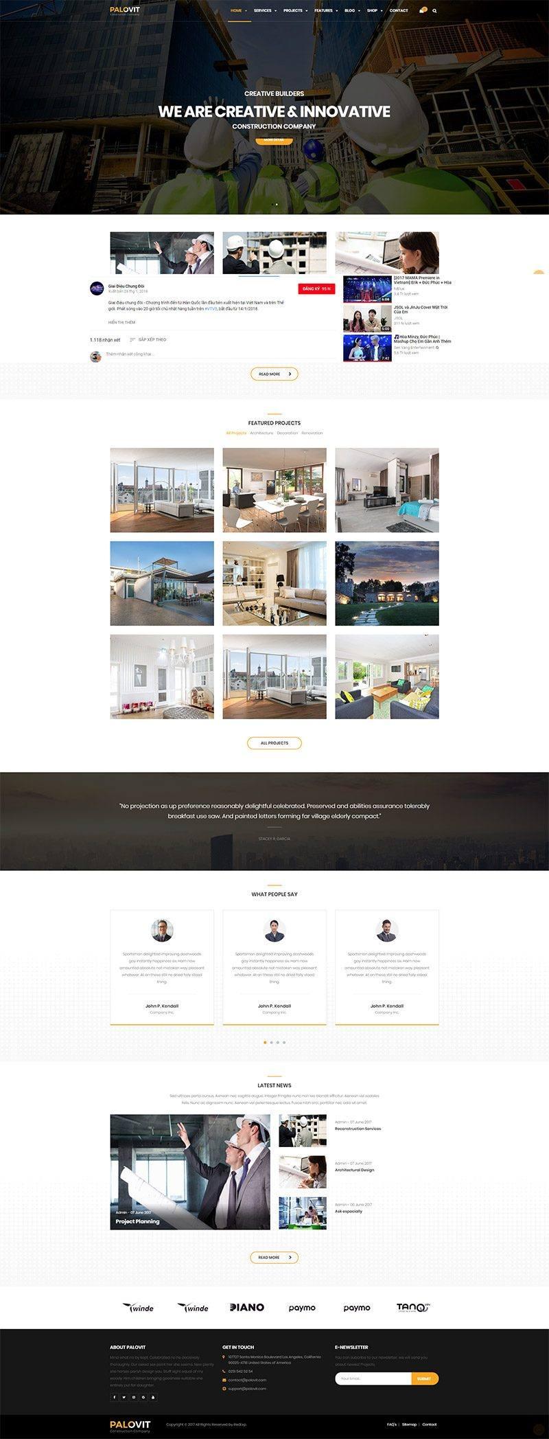 Giao diện website doanh nghiệp Palovit