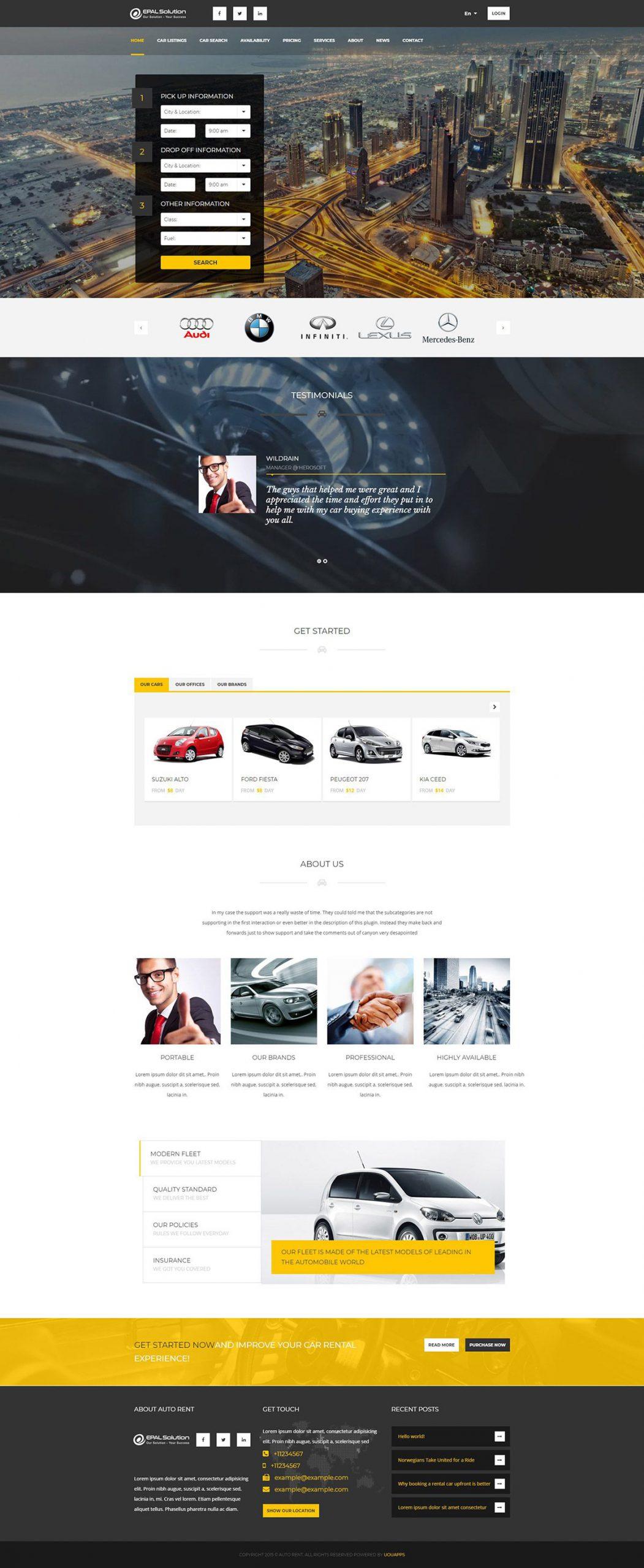 Giao diện website ô tô Auto Rent