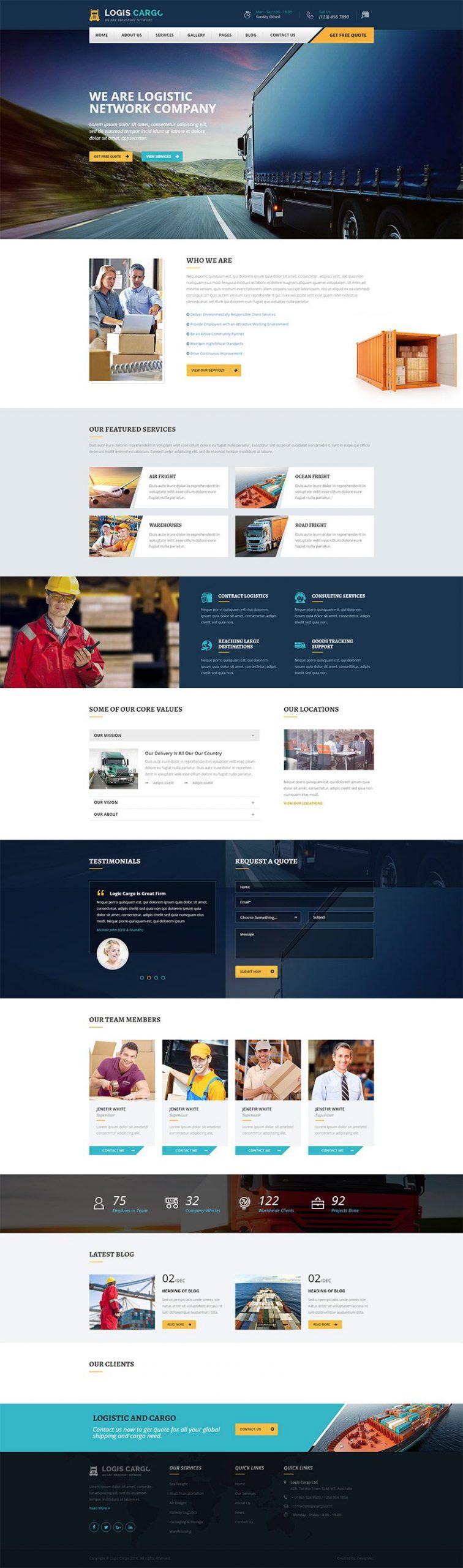 Giao diện website ô tô Logis Cargo