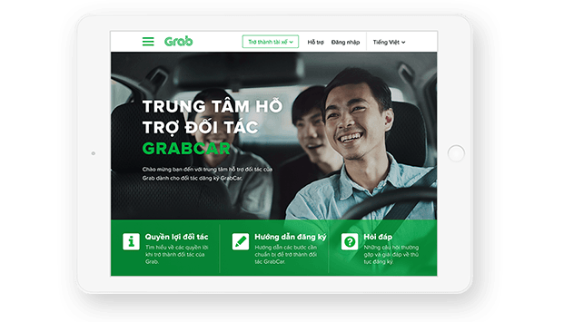 Grab - Giao diện Tablet